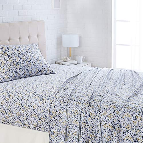 AmazonBasics Lightweight Super Soft Easy Care Microfiber Sheet Set with 16' Deep Pockets - Twin, Blue Floral