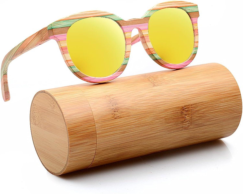 BEDATE Polarized Genuine Bamboo Sunglasses Round Lenses Handmade Eyewear G005A2