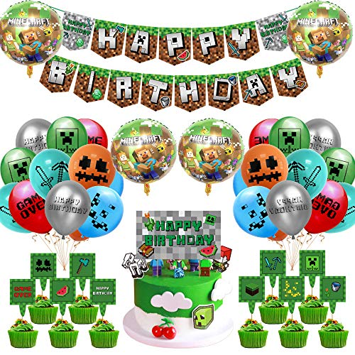 Osugin Video Game Partyzubehör - 42 Pcs Miner Gamer Thema Party Dekoration Einschließlich Happy Birthday Banner Luftballons Kuchendeckel Goldene Bänder für Minecraft Deko Geburtstag Gaming