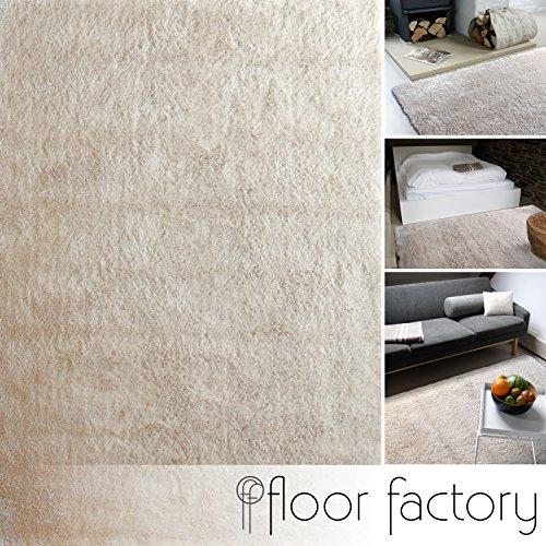 floor factory Moderner Teppich Delight beige 120x170cm - edler Designer Teppich mit flauschig weichem Flor