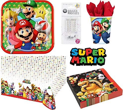 uni que Set de Cumpleaños Completa Super Mario 16 niños (16 Platos,16 Tazas, 20 servilletas,1 Mantel + 10 Velas mágicas ofrecidas) Fiesta Mesa de decoración