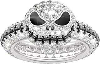 Jeulia Jack Skellington Rings Women Nightmare Before Christmas Skull Rings 925 Sterling Silver Halloween Jewelry Romantic Jewelry Gifts for Her Teen Girls CZ Solitare Engagement Rings Anniversary
