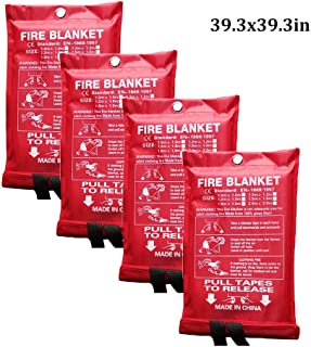 Fire Blanket Fiberglass Fire Emergency Blanket Suppression Blanket Survival Safety Cover Welding Resistant Insulation for Kitchen Fireplace Car 4 Pack (Color : White, Size : 39.3x39.3inch)