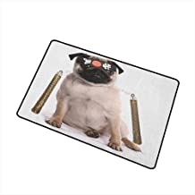 Wang Hai Chuan Pug Commercial Grade Entrance mat Ninja Puppy with Nunchuk Karate Dog Eastern Warrior Inspired Costume Pug Image for entrances garages patios W19.7 x L31.5 Inch Cream Black Gold