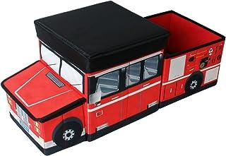 TE-Trend Pliable Pompier Voiture Rangement Ordnungsbox Coffret de Jeux Enfants Garçons Jeu de Témoigne Calme Tabouret Couv...