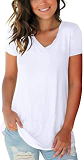 Women's T Shirts Short Sleeve V Neck Loose Casual Basic Tee Tops Summer T-Shirt