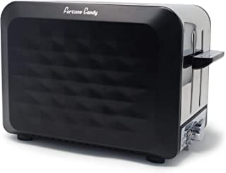 Fortune Candy Toaster 2 Slice Stainless Steel for Bagels and Breads Extra Wide Slots For Thick Slices - Diamond Texture Surface (Matte Black)