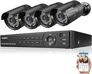 FLOUREON DVR Video Kit de vigilancia (8CH 1080N AHD DVR + 4 * 1080P 3000TVL 2.0MP cámara Exterior), Copia de Seguridad USB...