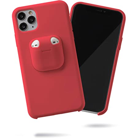 """SteepLab Case with AirPods Holder - The 2 in 1 AirPod and iPhone Silicone Gel Case Designed for iPhone 11 Pro Max (2019, 6.5"""") (Dragon Fruit)"""