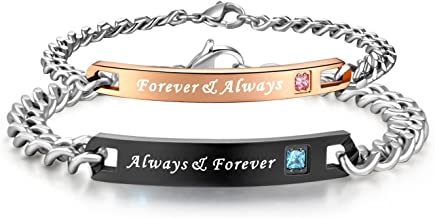 SunnyHouse Jewelry His & Hers Matching Set Titanium Stainless Steel Couple Always & Forever Bracelet in a Gift Box