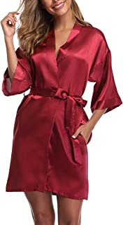 Women's Short Kimono Robe Satin Pure Color Pockets Bridesmaid Wedding Party Gift