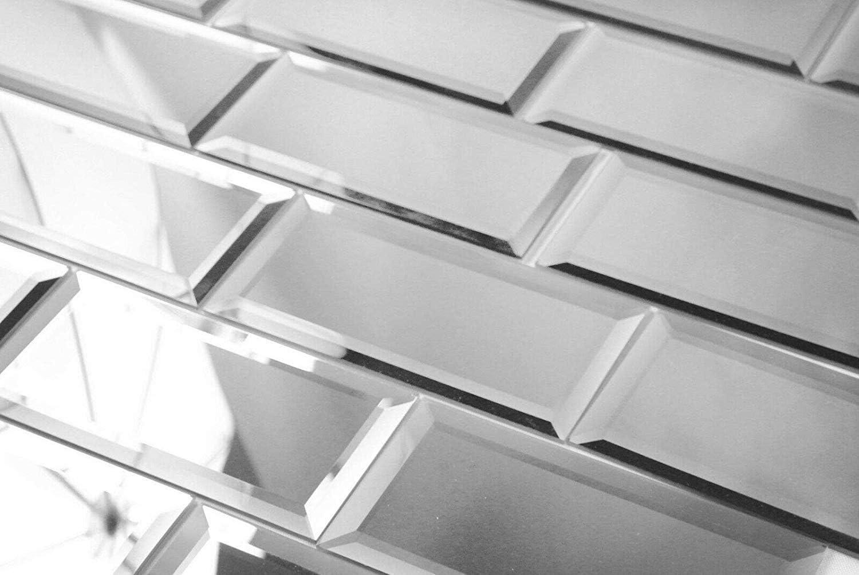 Diflart Beveled Silver Mirror Glass Charlotte Mall Subway Inch for Ki 8 Regular dealer 4X Tile