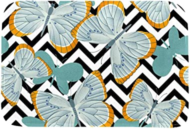 EGGDIOQ Doormats Gray Blue Butterflies Custom Print Bathroom Mat Waterproof Fabric Kitchen Entrance Rug, 23.6 x 15.7in