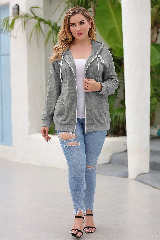 Nemidor Women's Plus Size Zip Up Hoodies Long Sleeve Casual Pullover Top Drawstring Sweatshirt with Pocket NEM259