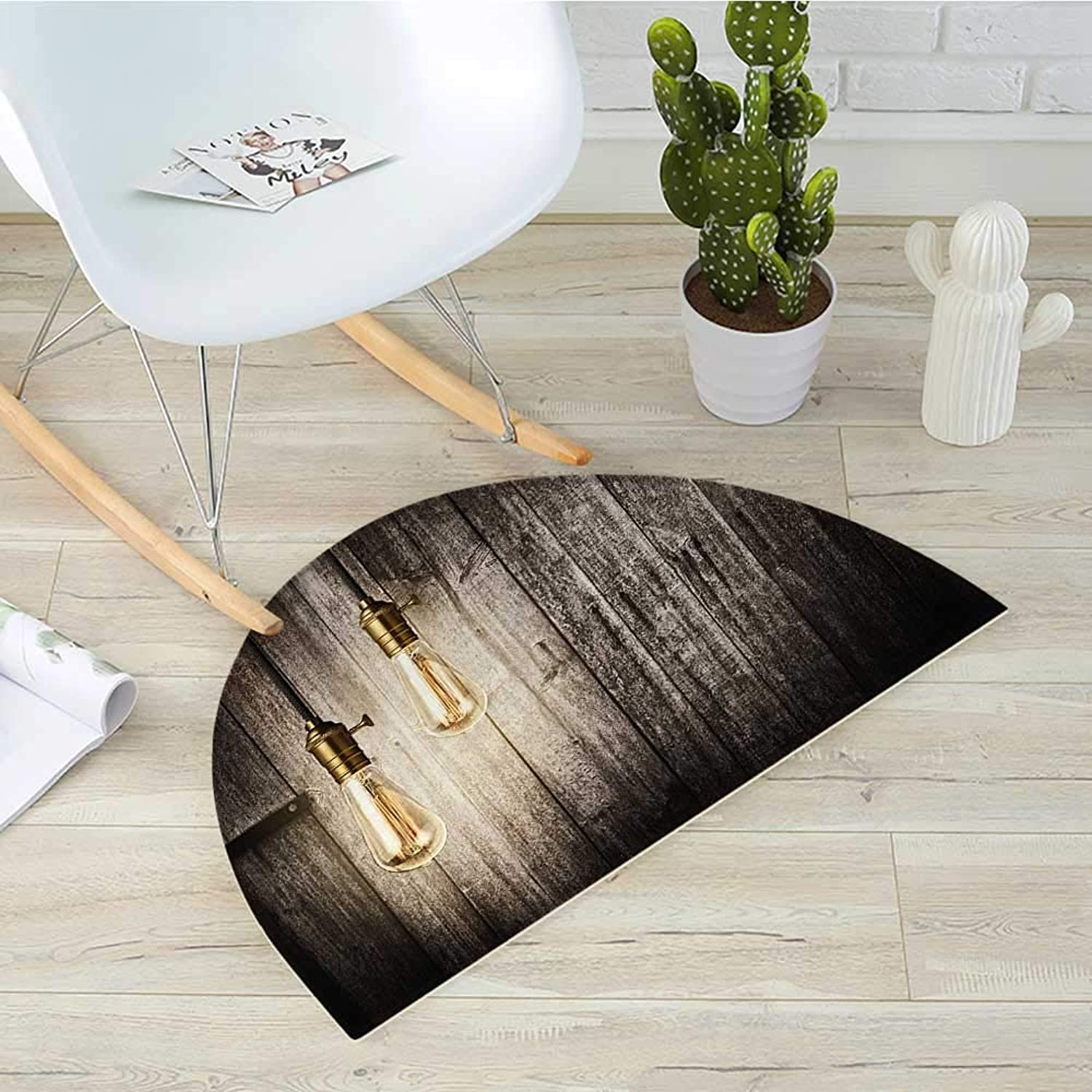 Industrial Half Round Door mats Historical Innovation Edison Revival Retro Electricity Wooden Planks Bathroom Mat H 39.3  xD 59  Pale Yellow Brown