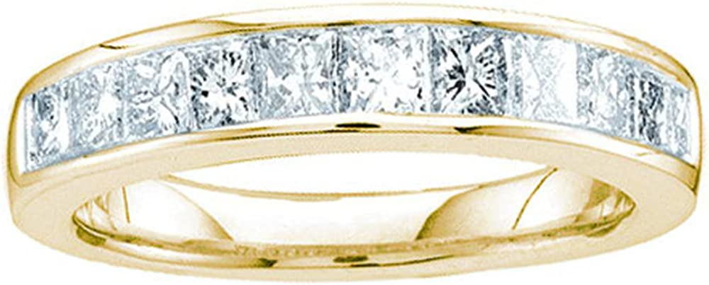 Sonia Jewels 14k Yellow Gold Princess Cut Channel Set Eleven Diamond Ladies Womens 11 Stone Wedding or Anniversary 3mm Ring Band (1/2 cttw)