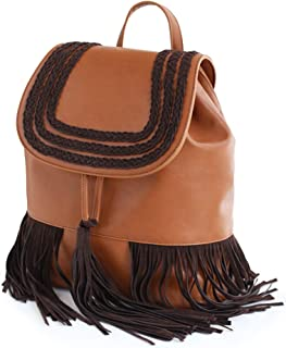 Xuan Yuan Backpack - National Style Tassel University Casual Women's Backpack, Fashion Wild Large Capacity Multi-Function PU Soft Leather Bag [Brown] Backpack (Color : Brown)