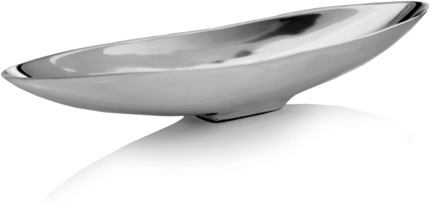 """Modern Day Accents Barco Short Boat, Silver, Aluminum, Popular, Bowl, Tray, Tabletop, Centerpiece, Top Seller, Modern, Accent, Accessory, Décor, Home, Office, Filler, Glam, Beautiful, 20"""" x 4.5"""" x 3"""