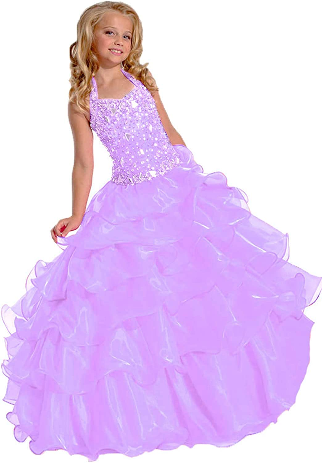 Junguan Girl's Halter Beaded Rhinestones Pageant Dress Classic Birthday Wedding Party Long Gown