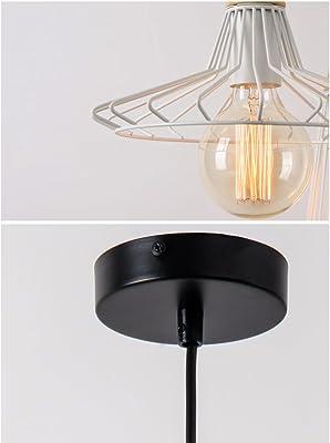Loft industriale vento singolo lampadario in ferro battuto gabbia per uccelli ristorante creativo cyber cafe bar illuminazione (Color : White-C)