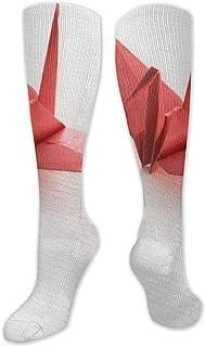 Ginger-Ale, Calcetines De Compresión Calcetines De Tubo Rojos Origami Soccer Sports Knee High