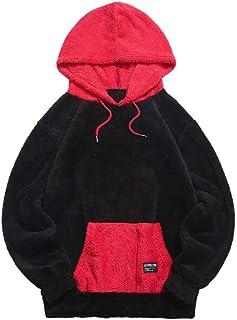 ZAFUL Felpa con Cappuccio Uomo Pullover Uomo Cotone Autunno Invernale Capispalla Fuzzy Patchwork di Colore Hoodies