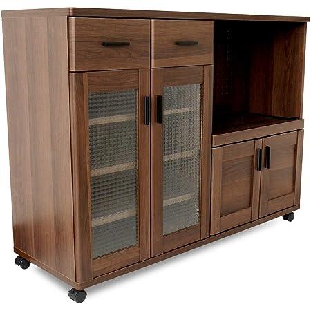 moca company Roundear キッチンカウンター 幅120 レンジボード キャスター付き 食器棚 ロータイプ ブラウン 木目調