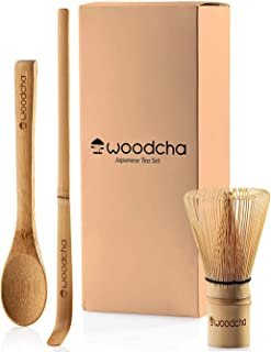 Woodcha set included whisk (Chasen) scoop (Chashaku) spoon Traditional Handmade starter kit easy turns organic green powder into ceremonial matcha tea, Bamboo