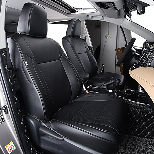 BeHave Autos Ra-zd001 Car Leather Seat Covers Fit for Toyota RAV4 2013 2014 2015 2016 2017 2018 Auto Full Set Seat Cushion Protector 4pcs Saddle Cover,4pcs Back Cover,5pcs Headrest Cover(Black)