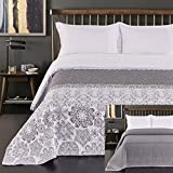 DecoKing 12253 Tagesdecke 200x 220 cm Stahl Silber weiß anthrazit Bettüberwurf zweiseitig White Steel Silver Steppung Alhambra
