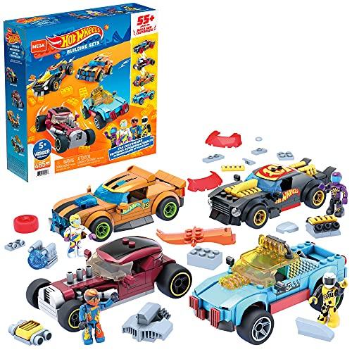 Mega Construx GVM13 - Hot Wheels Rennwagen Spielzeug-Set, Bauset mit 485 Teilen, 4 Fahrzeuge, Rally Cat, Dawgzilla, Night Shifter und Mod Rod, 4 bewegliche Mikro-Actionfiguren, zum Zusammenbauen