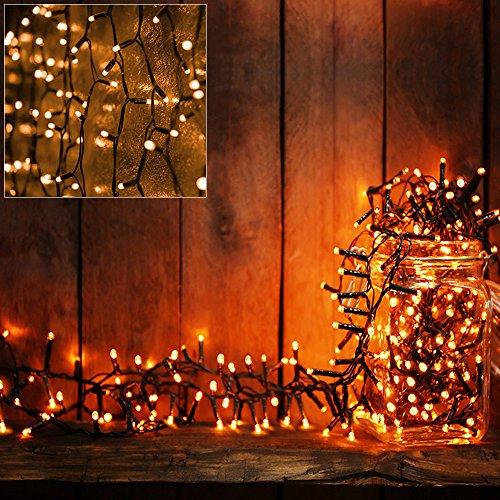 Deuba LED Lichterkette Weihnachtsbaum 7m Batterie Timer 100 warmweiße LEDs 8 Leuchtmodi Innen Außen Weihnachten Outdoor