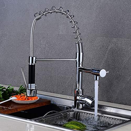 Küchenfeder europäisch A 1,Küchenarmatur,Wasserhahn Küche, Einhand-Spültischbatterie mit herausziehbarer Spülbrause chrom, Schwenkbereich 360°,100% Blei- und Nickelfrei Küchen- Spültischarmatur