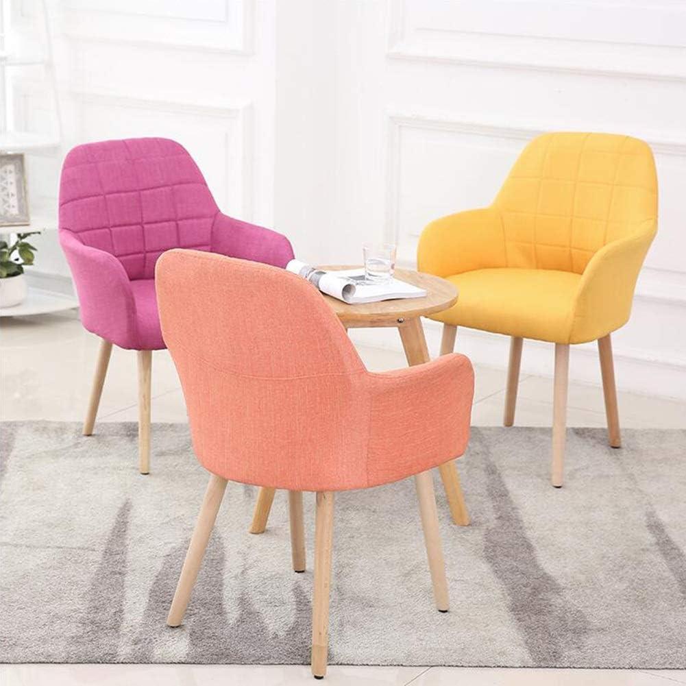 WYYY chaises Chaises De Salle À Manger Simple Moderne Tissu Bois Massif Chaise De Bureau Salon 45x45x82cm Durable fort (Color : Pink) Pink