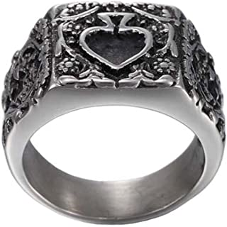 Zoro Men's Stainless Steel Retro Flower Pattern Relief Sculpture Ring Ace of Spades Poker Card Band
