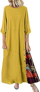 فستان نسائي ذو حواف منخفضة فستان أنيق كبير الحجم مثير برقبة دائرية وأزرار رداء للسيدات