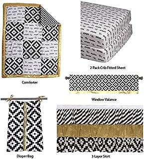 Bacati - Love Crib Bedding Set 100 Percent Cotton Percale Fabrics, Black/Gold Unisex (6 pc Patchwork Comforter, 3 Layer Frills Crib Skir)