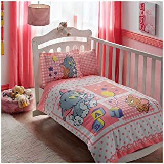 100% Cotton 4 pcs Licensed Baby Duvet Cover Set-Tom & Jerry Baby Girl