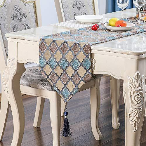 Camino de mesa de calabaza de lujo con relieve de diamante, camino de mesa de lujo, apto para mesa de comedor, mesa de café, cajón, zapatero, cama, etc. (azul, 32 x 220 cm)