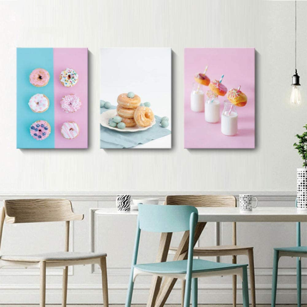 Canvas painting 3 Piece Washington Mall Modern Outlet ☆ Free Shipping Dessert Pink Delicious Poster Blu