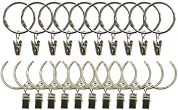 DODXIAOBEUL 3 inch Interior Diameter Open and Close Solid Metal Curtain Ring Hook Rustproof,Movable Clasp Suitable Fixed Pole Shower Curtain Rings/Strong Hooks Set Silver (20)