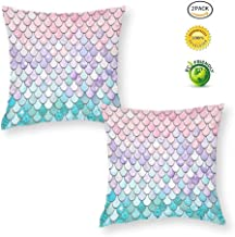 QoGoer Mermaid Throw Pillow Covers Set of 2, 18 x 18 Inch Colorful Mermaid Scales Square Pillow Cases Decorative Velvet Cushion Covers with Hidden Zipper for Couch Sofa Bedroom