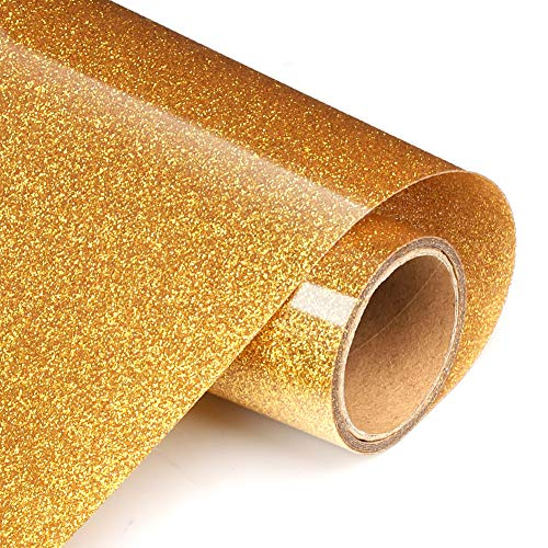 Glitter Gold Heat Transfer Vinyl Rolls 12in.x 5ft, HTV Vinyl Iron on Vinyl for T Shirts Gifts for Man or Women by TransWonder(Golden Yellow)