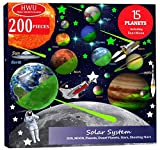 Hello World 200pcs Glow in The Dark Stars and Planets, Bright Solar System Wall Stickers, All Glowing 15 Planets Dwarf Pluto Moon Sun 173 Stars, 12 Shooting Stars 4 Rockets, Ceiling Wall Decals