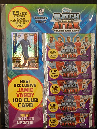 Topps Match Attax 2015/2016 Multi 15/16 Trading Cards Mit Jamie Vardy 100 Club Card (UK VERSION)