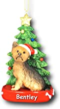 Kurt Adler Personalized Yorkie Yorkshire Terrier Dog with Santa Hat and Glittered Christmas Tree Hanging Christmas Ornament with Custom Name - 4.25 Inches