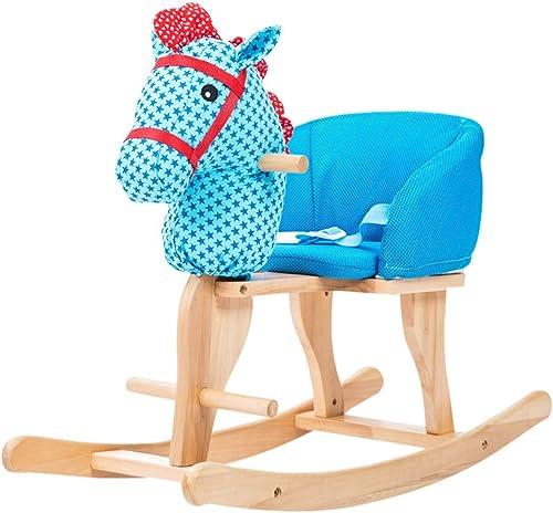 varios tamaños HUYP Kindergarten Boy Girl Rocking Horse para Niños Juguete Juguete Juguete De Madera Maciza Silla Mecedora De Regalo (Color   azul)  venta directa de fábrica