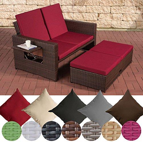 CLP Polyrattan 2er Loungesofa Ancona I Flachrattan Garten-Sofa mit ausziehbarem Fußteil und Verstellbarer Rückenlehne Rattan Farbe braun-meliert, Stärke 1,25 mm, Bezugfarbe: Rubinrot