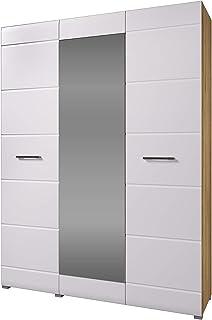 Armoire 3 portes Nensi en chêne blanc - La porte centrale est équipée d'un miroir.