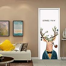 3d Pegatinas de puerta Material de PVC Tres tallas Visión estéreo Pintura decorativa casera India moda Murales Señor ciervo pipa, personificación 77X200CM